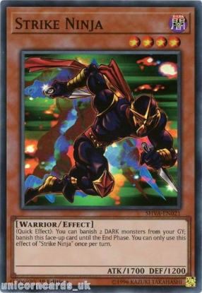 Picture of SHVA-EN021 Strike Ninja Super Rare 1st Edition Mint YuGiOh Card