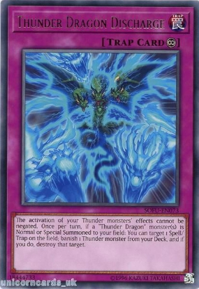 Picture of SOFU-EN073 Thunder Dragon Discharge Rare UNL Edition Mint YuGiOh Card