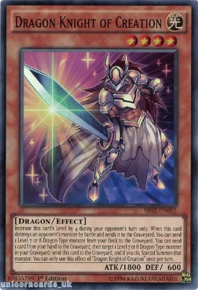 Picture of SR02-EN002 Dragon Knight of Creation Super Rare 1st edition Mint YuGiOh Card
