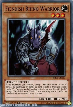 Picture of SR06-EN017 Fiendish Rhino Warrior 1st Edition Mint YuGiOh Card