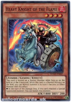 Picture of WSUP-EN047 Heavy Knight of the Flame Super Rare 1st Edition Mint YuGiOh Card