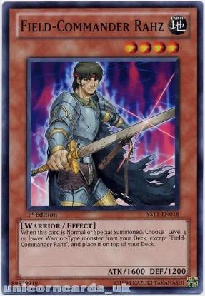 Picture of YS11-EN018 Field-Commander Rahz 1st Edition Mint YuGiOh Card