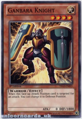 Picture of YS12-EN005 Ganbara Knight 1st Edition Mint YuGiOh Card
