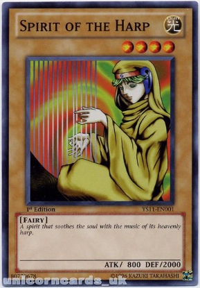 Picture of YS11-EN001 Spirit of the Harp 1st Edition Mint YuGiOh Card