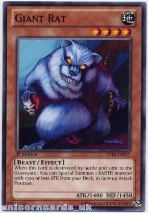 Picture of YS12-EN017 Giant Rat 1st Edition Mint YuGiOh Card