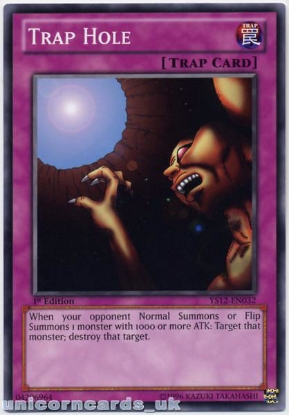 Picture of YS12-EN032 Trap Hole 1st Edition Mint YuGiOh Card