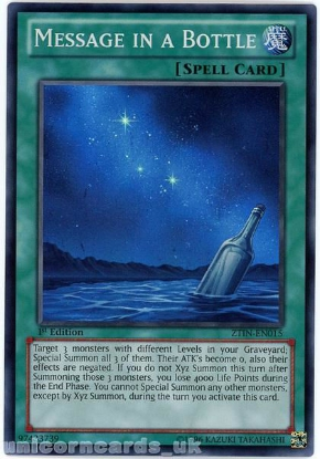 Picture of ZTIN-EN015 Message in a Bottle Super Rare 1st Edition Mint YuGiOh Card