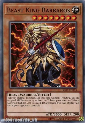 Picture of YS18-EN013 Beast King Barbaros 1st Edition Mint YuGiOh Card