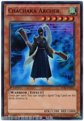 Picture of ZTIN-EN021 Chachaka Archer Super Rare 1st Edition Mint YuGiOh Card