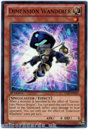 Picture of ZTIN-EN010 Dimension Wanderer Super Rare 1st Edition Mint YuGiOh Card