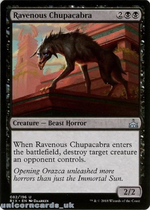 Picture of Ravenous Chupacabra Rivals of Ixalan RIX-082 Mint MTG Card