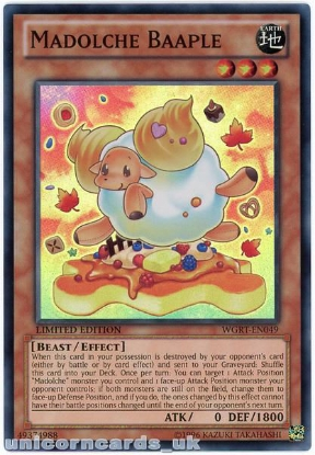 Picture of WGRT-EN049 Madolche Baaple Super Rare Limited Edition Mint YuGiOh Card
