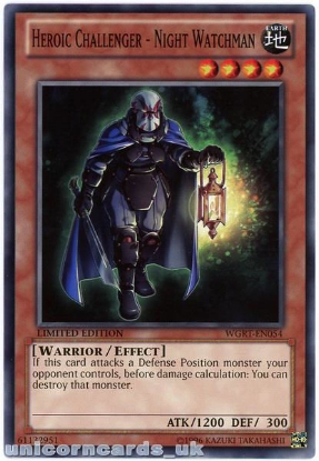 Picture of WGRT-EN054 Heroic Challenger - Night Watchman Limited Edition Mint YuGiOh Card