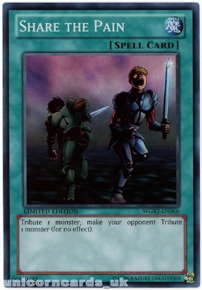 Picture of WGRT-EN066 Share the Pain Super Rare Limited Edition Mint YuGiOh Card
