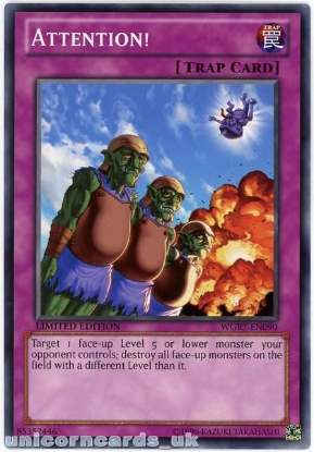 Picture of WGRT-EN090 Attention! Limited Edition Mint YuGiOh Card