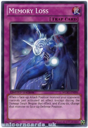 Picture of WGRT-EN096 Memory Loss Limited Edition Mint YuGiOh Card