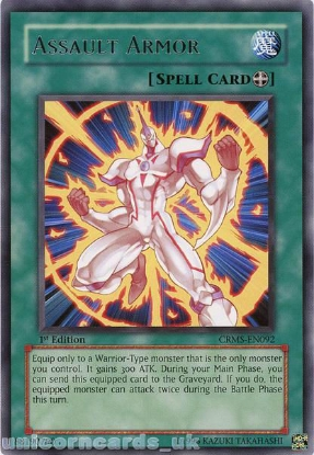 Picture of CRMS-EN092 Assault Armor Rare 1st Edition Mint YuGiOh Card