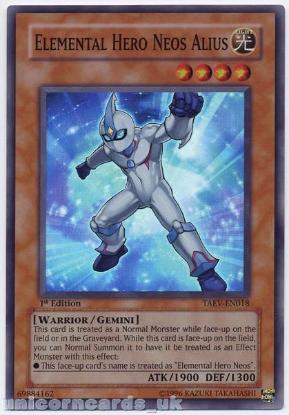 Picture of TAEV-EN018 Elemental HERO Neos Alius Super Rare 1st Edition Mint YuGiOh Card