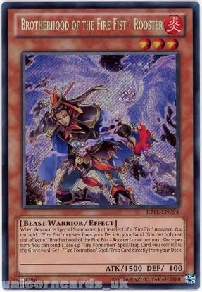 Picture of JOTL-EN094 Brotherhood of the Fire Fist - Rooster Secret Rare UNL Edition Mint YuGiOh Card