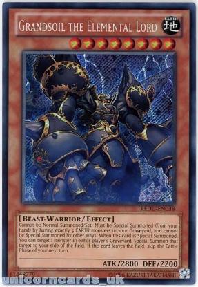 Picture of REDU-EN038 Grandsoil the Elemental Lord Secret Rare UNL Edition Mint YuGiOh Card