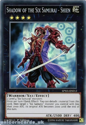Picture of SPWA-EN012 Shadow of the Six Samurai - Shien Super Rare 1st Edition Mint YuGiOh Card