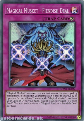 Picture of SPWA-EN027 Magical Musket - Fiendish Deal Super Rare 1st Edition Mint YuGiOh Card