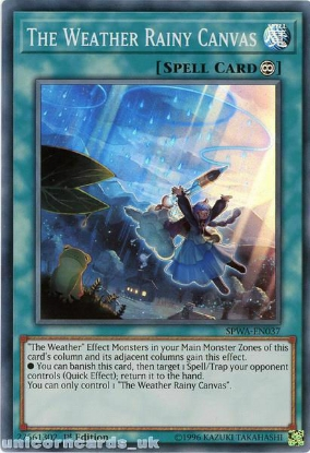 Picture of SPWA-EN037 The Weather Rainy Canvas Super Rare 1st Edition Mint YuGiOh Card
