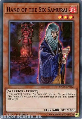 Picture of SPWA-EN042 Hand of the Six Samurai Super Rare 1st Edition Mint YuGiOh Card