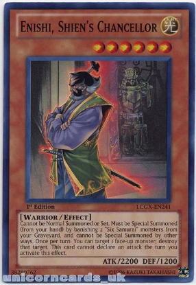 Picture of LCGX-EN241 Enishi, Shien's Chancellor Super Rare 1st edition Mint YuGiOh Card