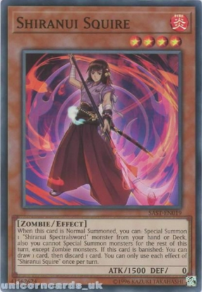 Picture of SAST-EN019 Shiranui Squire Super Rare UNL Edition Mint YuGiOh Card