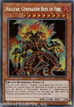 Picture of MYFI-EN030 Naglfar, Generaider Boss of Fire Secret Rare 1st Edition Mint YuGiOh Card
