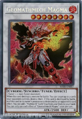 Picture of MYFI-EN007 Geomathmech Magma Secret Rare 1st Edition Mint YuGiOh Card