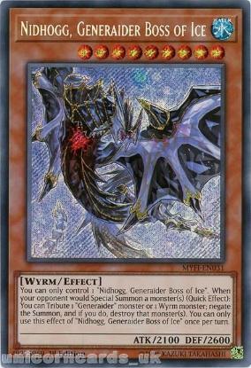 Picture of MYFI-EN031 Nidhogg, Generaider Boss of Ice Secret Rare 1st Edition Mint YuGiOh Card