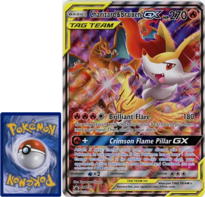 Picture of Charizard & Braixen GX Tag Team SM230 JUMBO OVERSIZED Holo Mint Pokemon Card