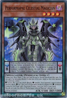 Picture of LED6-EN045 Performapal Celestial Magician Super Rare 1st Edition Mint YuGiOh Card