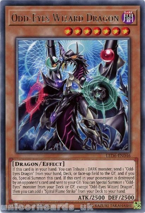 Picture of LED6-EN046 Odd-Eyes Wizard Dragon Rare 1st Edition Mint YuGiOh Card