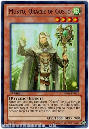 Picture of HA06-EN045 Musto, Oracle of Gusto Super Rare 1st Edition Mint YuGiOh Card