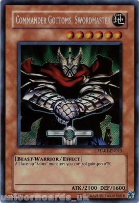Picture of HA01-EN013 Commander Gottoms, Swordmaster Secret Rare UNL Edition Mint YuGiOh Card