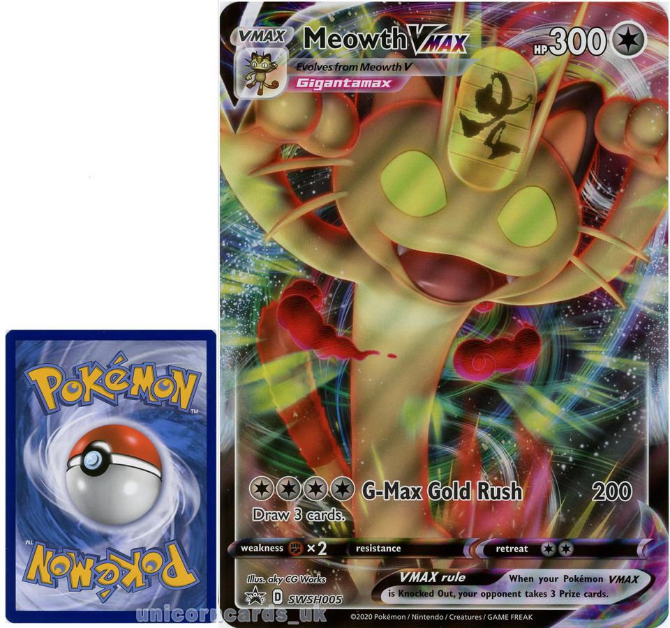 SWSH005 Black Star Promo Meowth VMAX Pokemon Card