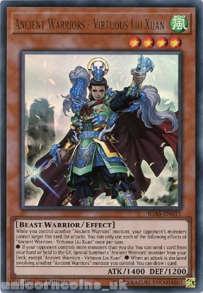 Picture of IGAS-EN011 Ancient Warriors - Virtuous Liu Xuan Ultra Rare 1st Edition Mint YuGiOh Card