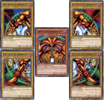 Picture of Complete Exodia the Forbidden One Set - All 5 Cards :: 1st Edition LDK2 Mint YuGiOh Cards!
