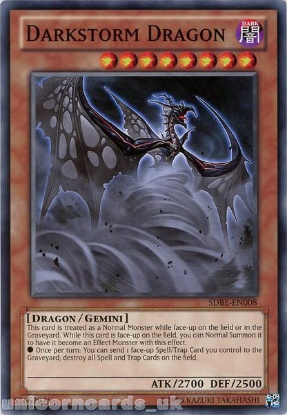 Picture of SDBE-EN008 Darkstorm Dragon UNL Edition Mint YuGiOh Card