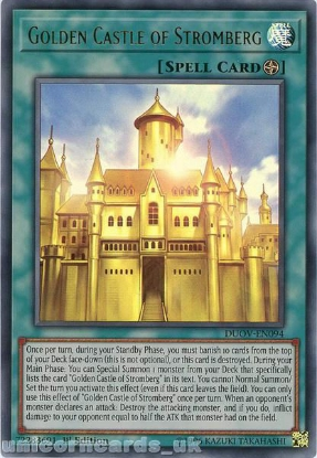 Picture of DUOV-EN094 Golden Castle of Stromberg Ultra Rare 1st Edition Mint YuGiOh Card