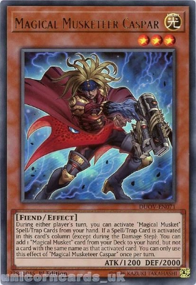 Picture of DUOV-EN071 Magical Musketeer Caspar Ultra Rare 1st Edition Mint YuGiOh Card
