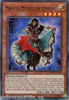 Picture of DUOV-EN072 Magical Musketeer Starfire Ultra Rare 1st Edition Mint YuGiOh Card