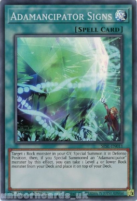 Picture of SESL-EN011 Adamancipator Signs Super Rare 1st Edition Mint YuGiOh Card
