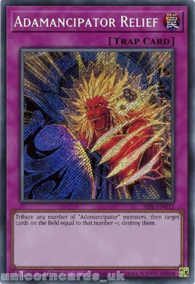 Picture of SESL-EN012 Adamancipator Relief Secret Rare 1st Edition Mint YuGiOh Card