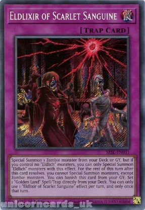 Picture of SESL-EN031 Eldlixir of Scarlet Sanguine Secret Rare 1st Edition Mint YuGiOh Card