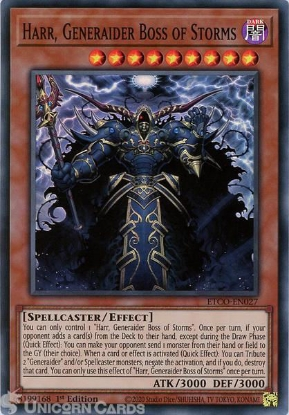 Picture of ETCO-EN027 Harr, Generaider Boss of Storms Super Rare 1st Edition Mint YuGiOh Card