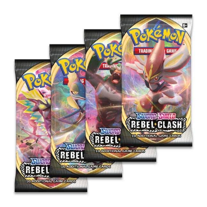 Picture of Pokemon TCG: Sword & Shield - Rebel Clash :: 4 Booster Packs - All Types - Brand New And Sealed!